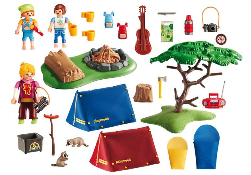 Contenido real de Playmobil® 6888 Campamento de Verano con Fuego Led