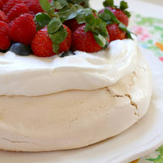 Pavlova with Almond Whipped Cream & Berries.