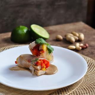 Mango Chicken Spring Rolls w/ Peanut Sauce