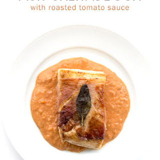 Fish Saltimbocca with Roasted Tomato Cream Sauce
