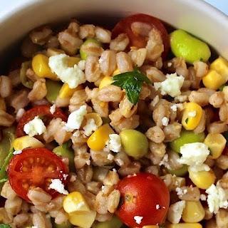 Farro Salad with Corn, Tomatoes and Edamame.