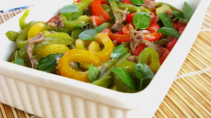 3 Peppers Salad with Anchovies and Basil Recipe