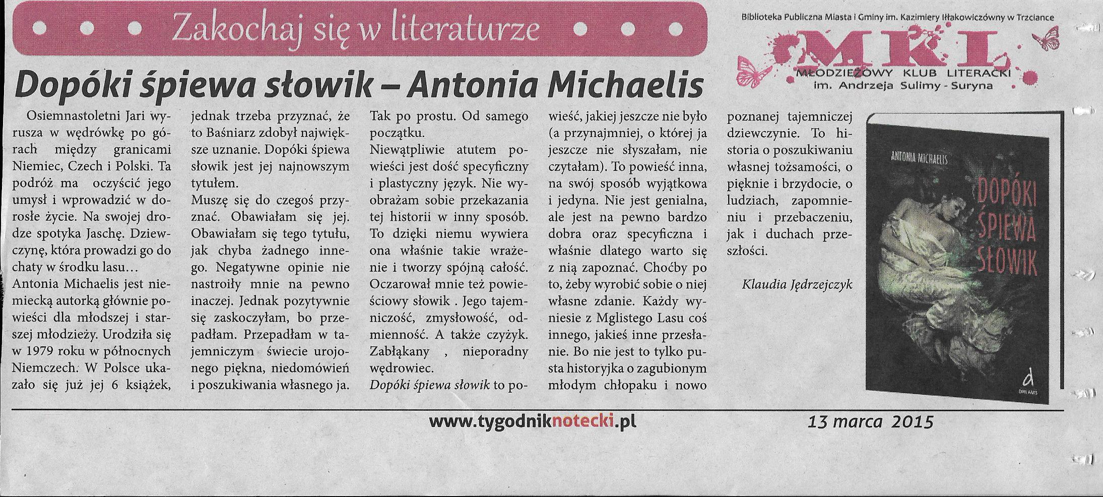 Photo: http://szeptksiazek.blogspot.com/2014/08/dopoki-spiewa-sowik-antonia-michaelis.html