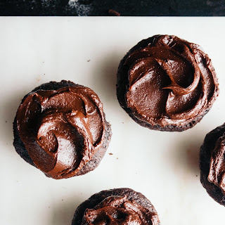 Chocolate Beet Cupcakes with Sour Cream Ganache Frosting.