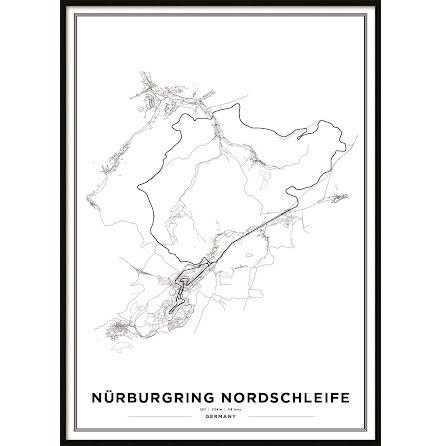 Poster, Nürburgring Nordschleife F1 print White