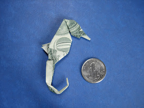 Photo: Model: Seahorse;  Creator: John Montroll;  Folder: William Sattler;  1 dollar;  Publication: Dollar Bill Animals In Origami (John Montroll) ISBN 0-486-41157-5