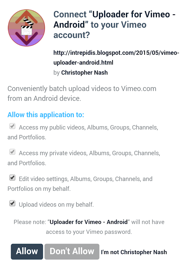 Uploader for Vimeo- screenshot