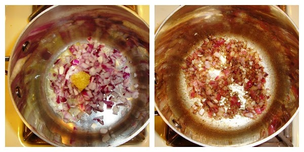 onions, garlic, and spices uncooked and cooked