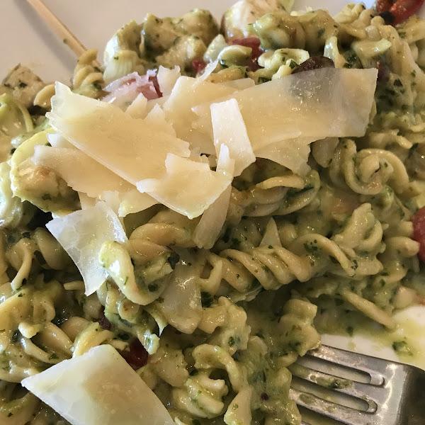 Gluten free Chicken pesto pasta.