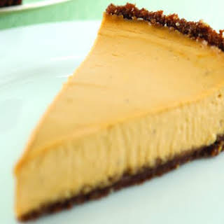 Pumpkin Cheesecake With a Gingersnap Crust.