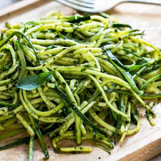 Zucchini Noodles Tossed In A Mint Pesto.