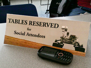 Photo: Tables were reserved for us in the GRC employee cafeteria