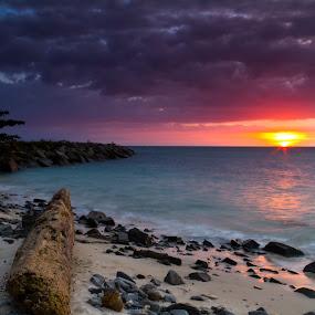 Sunset by BRYON PHILIP - Landscapes Sunsets & Sunrises ( waterscape, sunset, cloud, sea, rock, seascape, beach, landscape, coast )