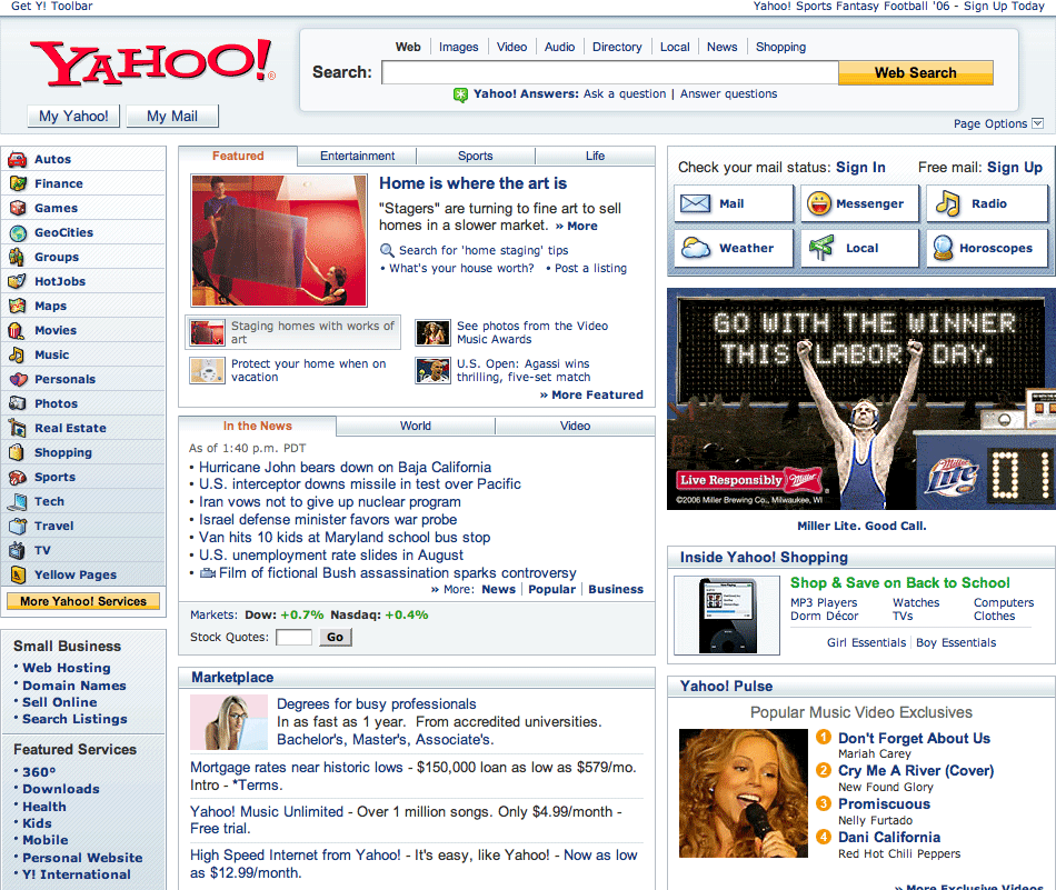 Yahoo homepage 2006