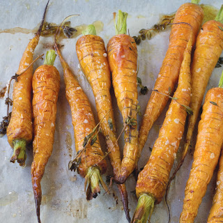 Roasted Baby Carrots With Honeyed Pimenton Yogurt And Toasted Almonds.
