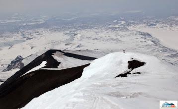 "Photo: Roman on the side ridge of Avachinsky, ""Sucahaja recka"" valley behind him"