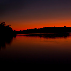 Sunset and Moon by Patrick Morgan - Landscapes Waterscapes