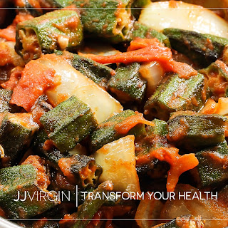Spicy Okra with Garlic and Tomatoes.