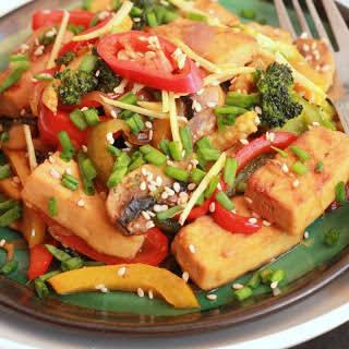 Chilli Ginger Vegetable Tofu Stir Fry.