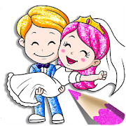 Glitter Bride and Groom Coloring Pages For Kids