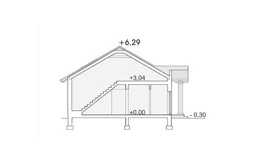 Madzia wersja B z pojedynczym garażem - Przekrój