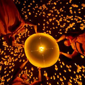 Yi  Peng by Felix Hug - People Street & Candids ( lantern, yi peng, festival, pwccandidcelebrations, chiang mai )