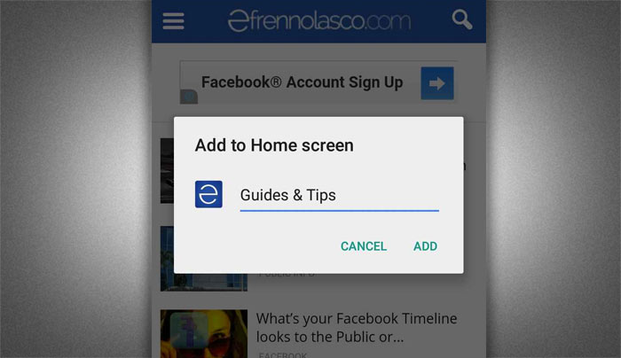 How to add website to android home screen step 3