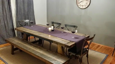 """Photo: Viking Dining Table (Extending 116"""") 96""""L x 36""""W x 30""""H Color: Greyburn Stain Finish: Dull Rubbed Hardware: Corner Brackets, Recessed Plain Steel, Wire and Turnbuckle Investment: 1900  Viking Bench 96""""L x 16""""W x 18""""H Color: Greyburn Stain Finish: Dull Rubbed Hardware: Corner Brackets, Wire and Turnbuckle Investment: 495"""