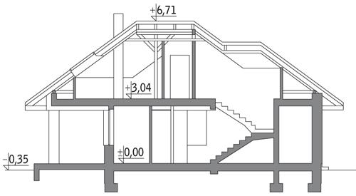 Niewielki - wariant I energooszczędny - EM05a - Przekrój