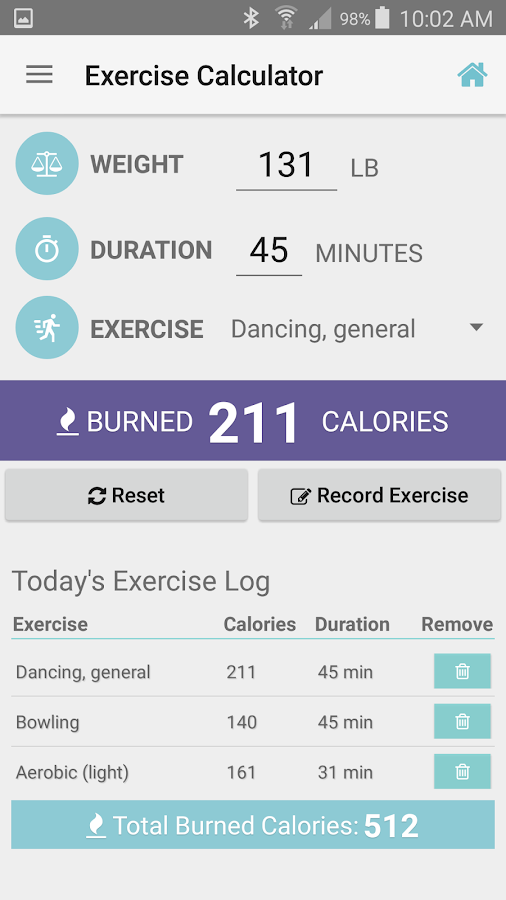 Exercise Calorie Calculator- screenshot