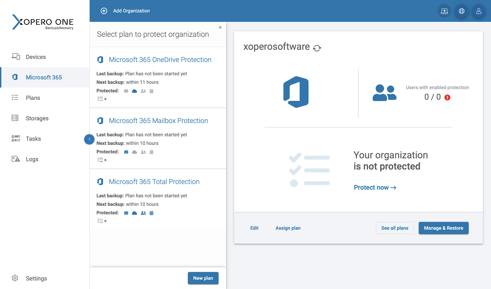 Backup Office 365 emails with Xopero ONE: predefined plans