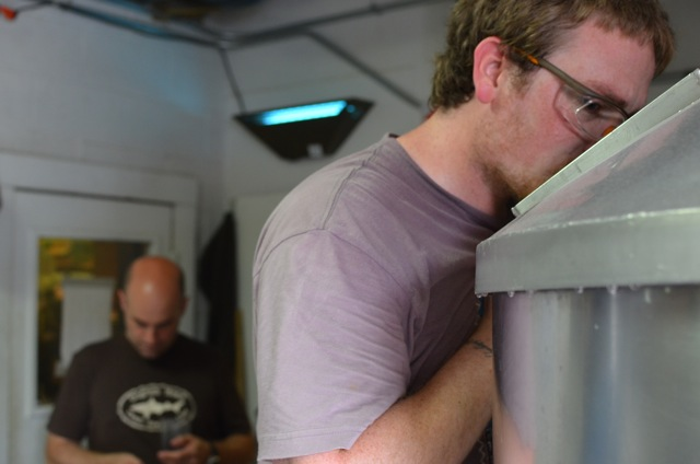 Photo: Ben helped Tyler scale up his recipe from 5 gallons to 5 barrels. This batch should clock in at 9% ABV.