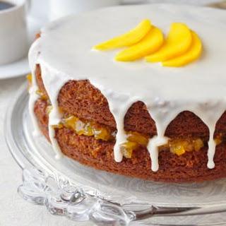 One Bowl Gingerbread Cake with Mango Vanilla Jam.