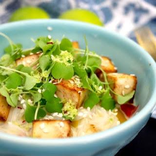 Low Carb Vegan Coconut Lime Noodles with Chili Tamari Tofu (gluten free, keto, low-FODMAP).