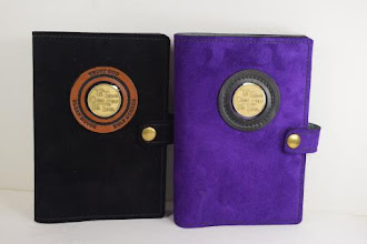Photo: P0423 (left $49.95) Chrome Tanned Black color Suede leather Portable Paperback Big Book (Medallion Holder and Snap & Strap)   P0423 (right $49.95) Chrome Tanned Purple color Suede leather Portable Paperback Big Book (Medallion Holder and Snap & Strap)