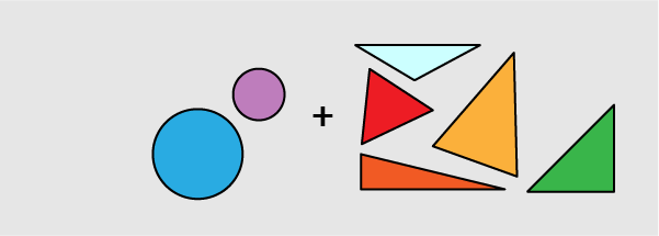 circles (1 blue and 1 purple)  + triangles (1 red, 1 orange, 1 yellow, 1 green, and 1 light blue)