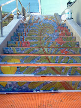 Photo: Top sections of the mosaic on the Hidden Garden Steps (16th Avenue, between Kirkham and Lawton streets in San Francisco's Inner Sunset District), installed on October 29, 2013. KZ Tile workers finished installing more than 36 pieces of the 148-step ceramic-tile mosaic designed and created by project artists Aileen Barr and Colette Crutcher. For more information about this volunteer-driven community-based project supported by the San Francisco Parks Alliance, the San Francisco Department of Public Works Street Parks Program, and hundreds of individual donors, please visit our website at http://hiddengardensteps.org.