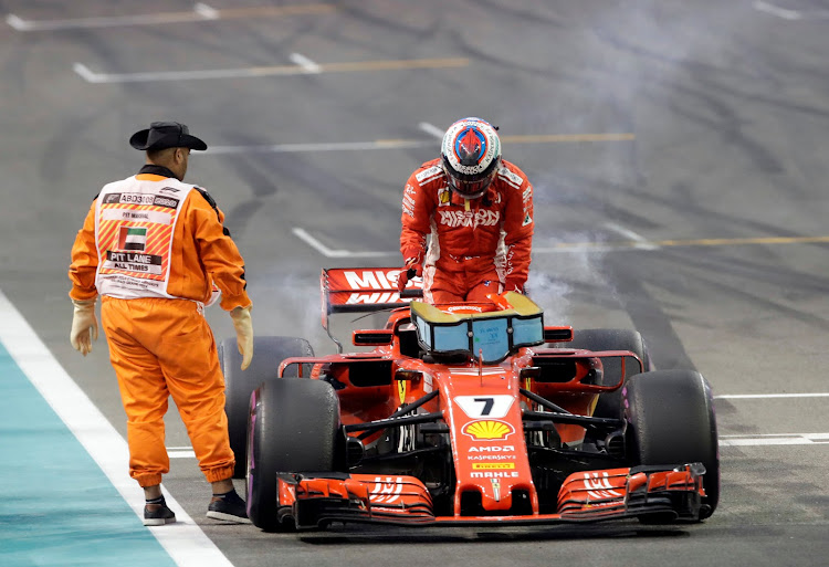 Kimi Raikkonen ended his Ferrari F1 career with a mechanical failure at the Abu Dhabi Grand Prix. Picture: Reuters