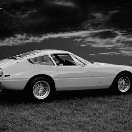 1971 Ferrari Daytona by JEFFREY LORBER - Black & White Objects & Still Life ( jeffrey lorber, rust 'n chrome, car, 1971, ferrari, ferrari daytona, lorberphoto, daytona )