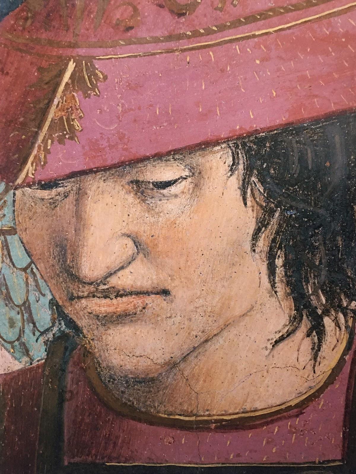 Piero della Francesca, Le Storie della Vera Croce, Battaglia di Eraclio e Cosroè, (particolare soldato) Basilica di San Francesco, Arezzo