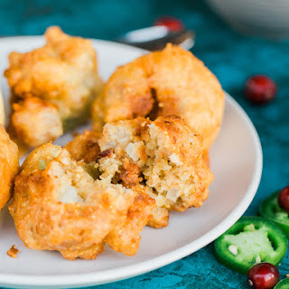 Bacon Thanksgiving Stuffing Fritters with Jalapeno Cranberry Sauce