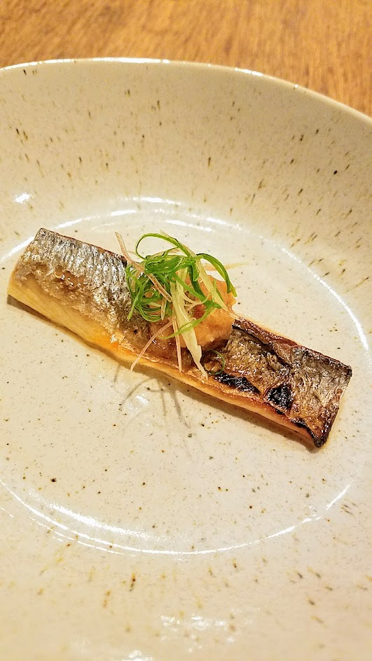 Nodoguro Princess Mononoke Sousaku Course Five: Grilled salt cured Mackerel, lightly toasted soy sauce, ginger blossom