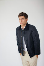 Photo: Navy field jacket in wax cotton with sand chino