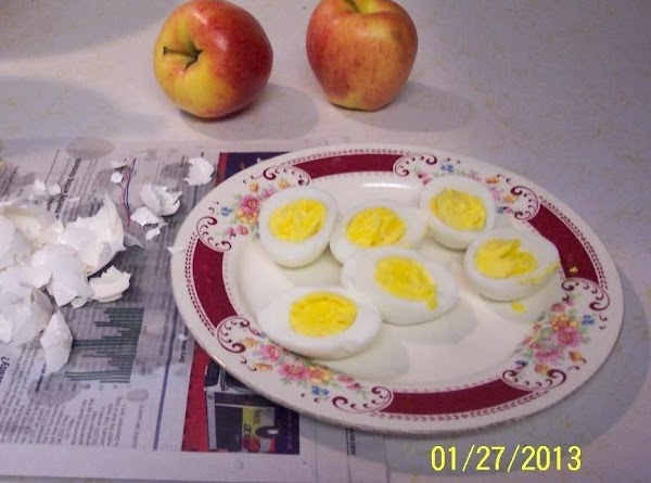 Remove eggs, put in cold water .. to stop the cooking.  Shell and cut into...