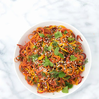 Colorful Roasted Spiralized Carrots with Mint and Dill.