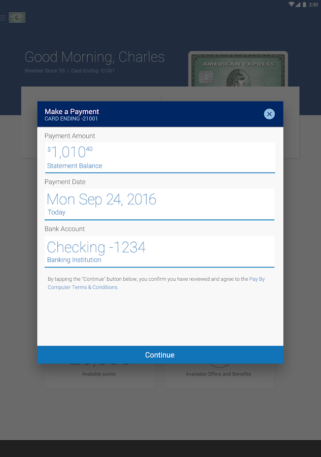 Amex Mobile- screenshot