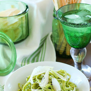 Pasta with Light Avocado Cream Sauce.