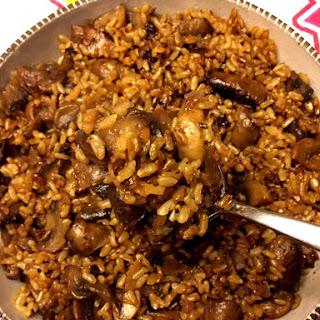 Mushroom Rice Recipe With White Or Brown Rice.