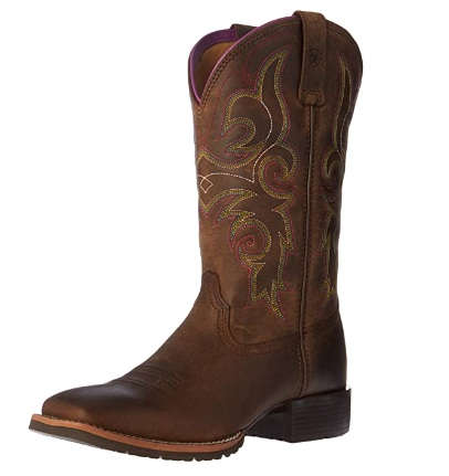 Ariat Hybrid Rancher Square-Toe Leather Work Boots For Women