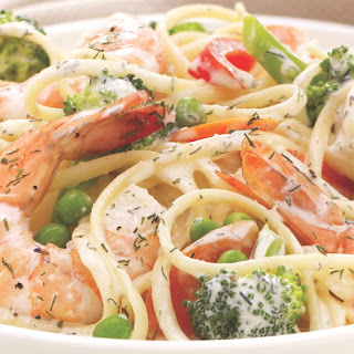 Recipe Inspirations Shrimp & Pasta Primavera.